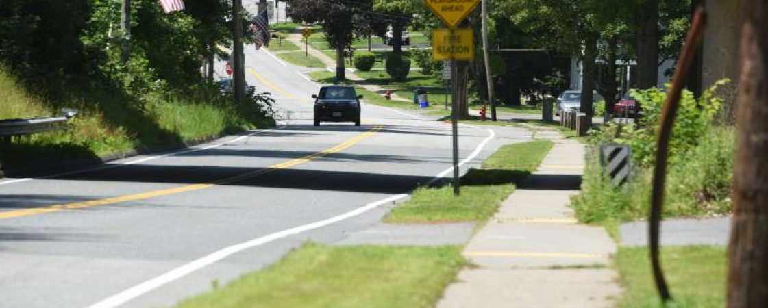 The sidewalks along Route 63 in the Ervingside section of Millers Falls are being rebuilt.